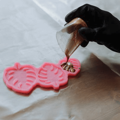 Pigmented Epoxy Resin Poured in Mold