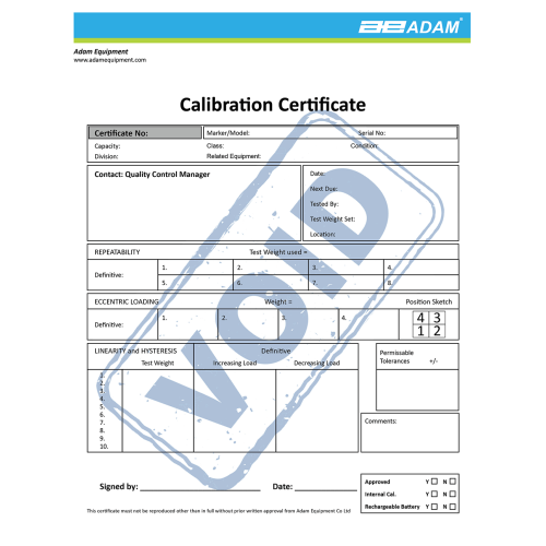 Calibration certificate IHS/LHS/AFK 600/GFK 600/PTM